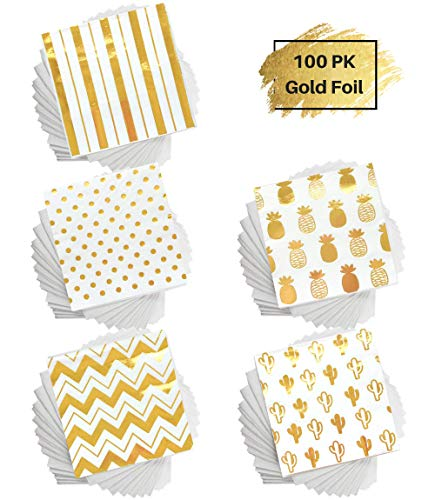 - 100 Gold Foil Cocktail Napkins | 5 Assorted Designs Folded 5 x 5 Inches Disposable Party Napkins Beverage Napkins | Bulk White Paper Napkins Are Perfect for Dinner, Wedding, Baby Shower, Bridal Shower