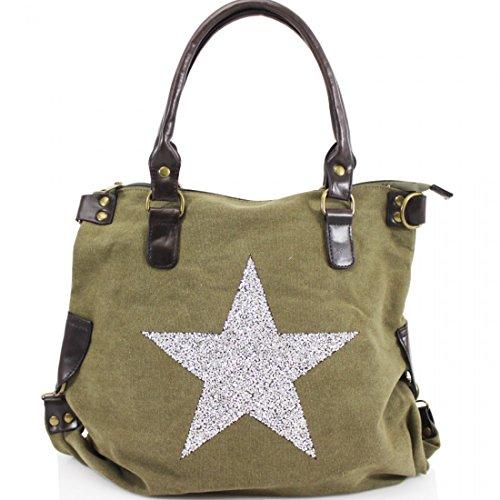 Strap Cross Print Body Star Encrusted Canvas Crystal Grab Green Handle Bag Twin qvt8ASwA