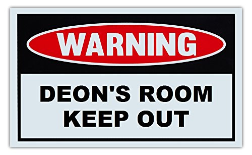 Novelty Warning Sign: Deon's Room Keep Out - For Boys, Girls, Kids, Children - Post on Bedroom Door - 10
