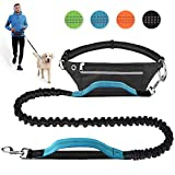 Bicycle Dog Leash - Hands Free Dog Leash for Running Walking Jogging Training Hiking, Retractable Bungee Dog Running Waist Leash for Medium to Large Dogs, Adjustable Waist Belt with Pack, Reflective Stitches, Dual Handle