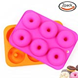 LoveS (2 Pcs) 6 Silicone Cake Molds, Donut Molds, Doughnut Chocolate Soap Candy Jelly Mold Baking Pan, Suitable for Dishwasher, Oven, Microwave, Freezer