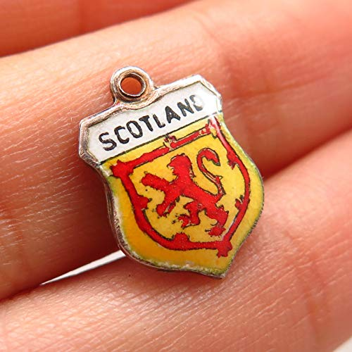 925 Sterling Silver Vintage Enamel Scotland Royal Banner Crest Charm Pendant Jewelry Making Supply by Wholesale Charms