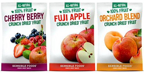 Sensible Foods All-Natural Gluten Free Vegan Non-GMO Crunch Dried Fruit Snacks 3 Flavor 9 Bag Variety Bundle: (3) Cherry Berry, (3) Fuji Apple, and (3) Orchard Blend, .32-.37 Oz. Ea. -