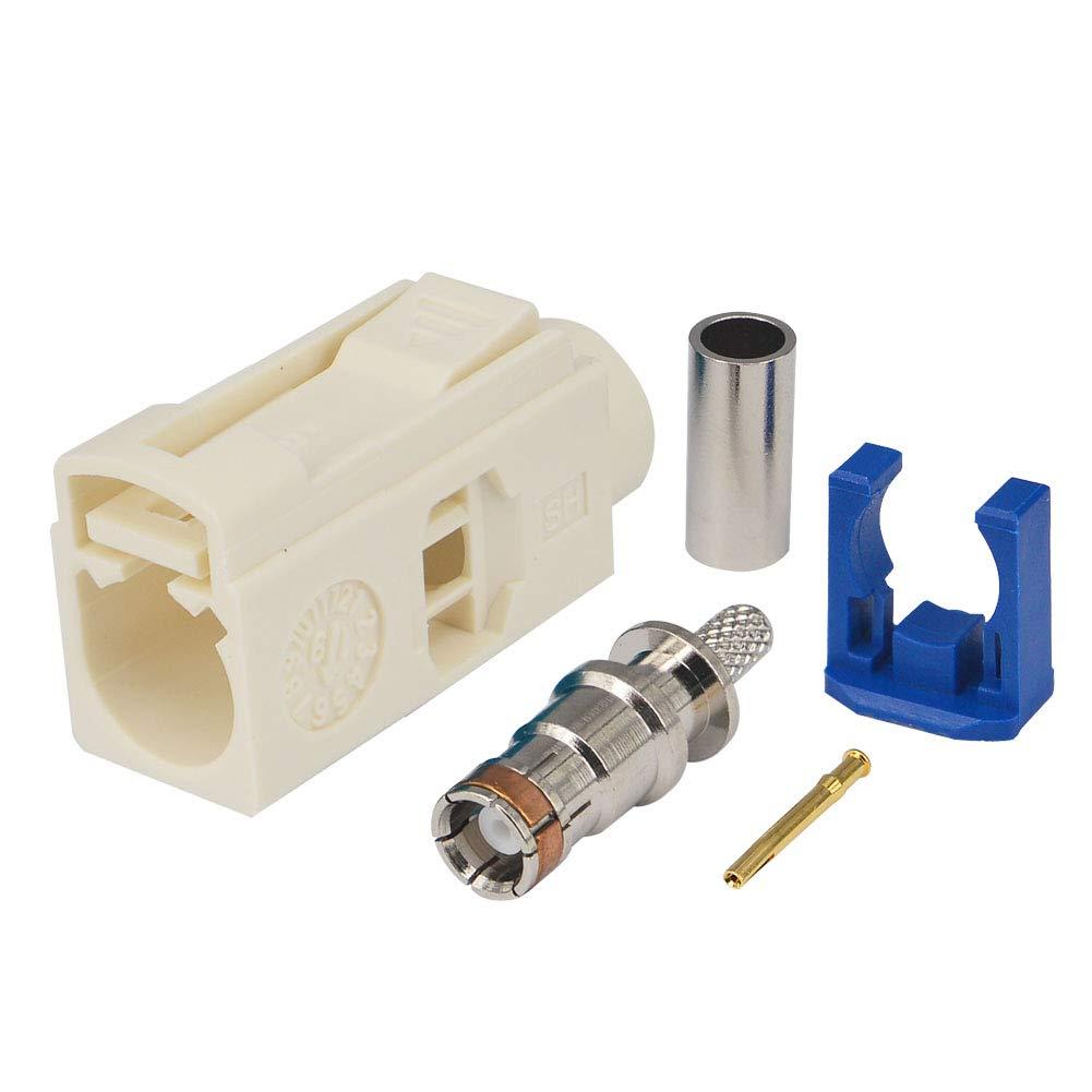 9001 Straight Crimp para RG316 RG174 LMR100 Cable coaxial para Radio de Coche con Conector de Antena Fantasma Paquete de 5 YILIANDUO Fakra Crimp Plug B Tipo Jack Hembra Blanco