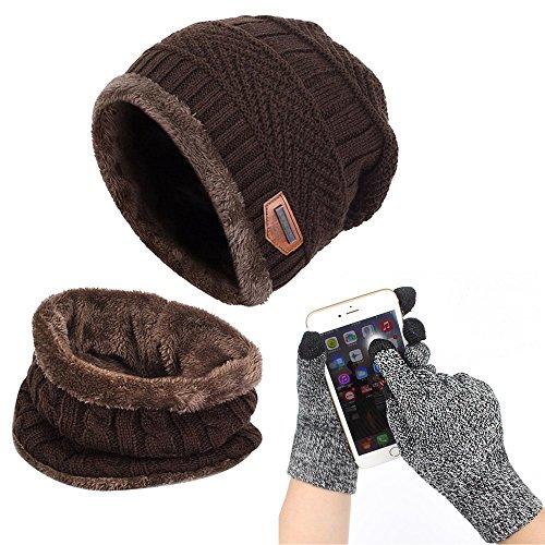 (Affei Winter Beanie Hat Scarf Set Warm Knit Hat Thick Knit Skull Cap Touch Screen Glove Unisex)