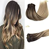 Googoo 7pcs Full Head Remy Clip in Human Hair Extensions Ombre Colored Brown Fading to Light Dirty Blonde Balayage Hair Extensions 120g Weight 16-24inchs Available