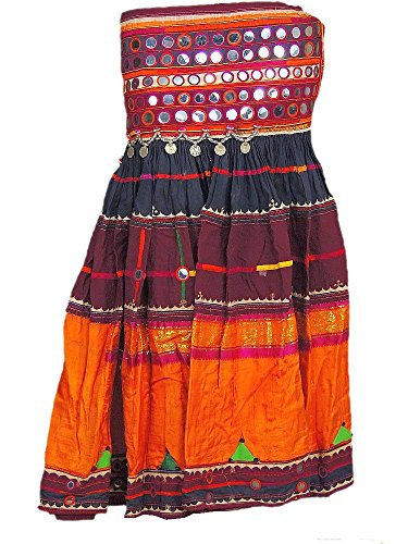 [Traditional Banjara Long Skirt Belly Dancer Dress Mirror Belt Costume Attire S] (Banjara Dance Costumes)