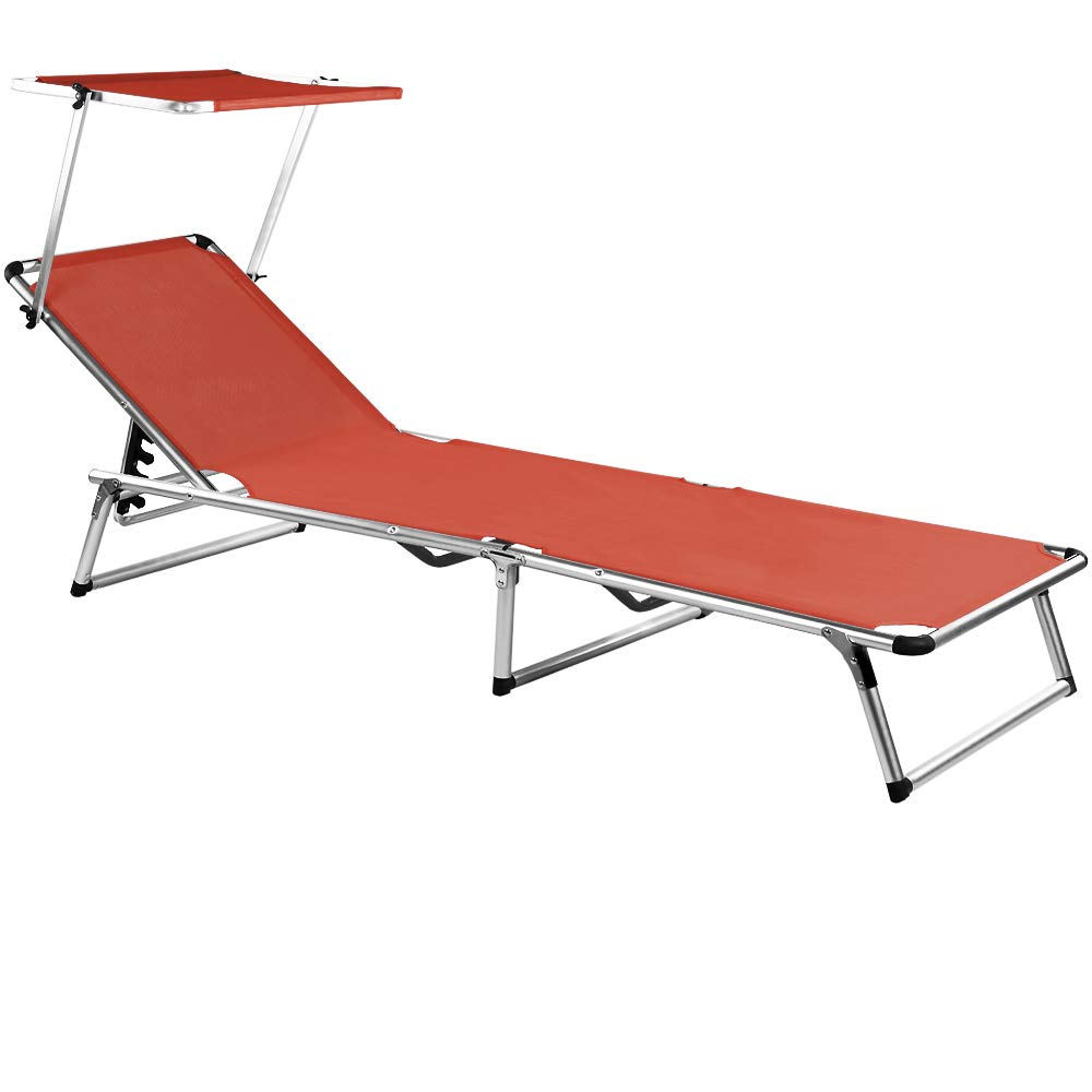 Deuba Folding Garden Sun Lounger Bed with Sun Shade Outdoor Aluminium Steamer BLUE DEUBA GmbH & Co. KG.