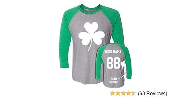 ac1ce8542 Amazon.com  Custom Jerseys St Patrick s Day T Shirts - Saint Pattys  Baseball Raglans Irish Outfits  Clothing