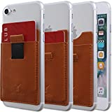 Monca [Pull Tap] Genuine Leather Credit Card Holder Stick on Wallet Discreet ID Holder Card Sleeves iPhone 6s 7 Plus Samsung Galaxy S8 and Blu Smartphones (Light Brown)