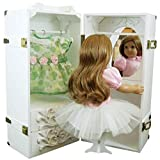 Doll Trunk Storage Case for 18 Inch Dolls, Clothing, Shoes & Accessories. White Painted Wood with Removable Vanity, Stool Plus 4 Clothing Hangers