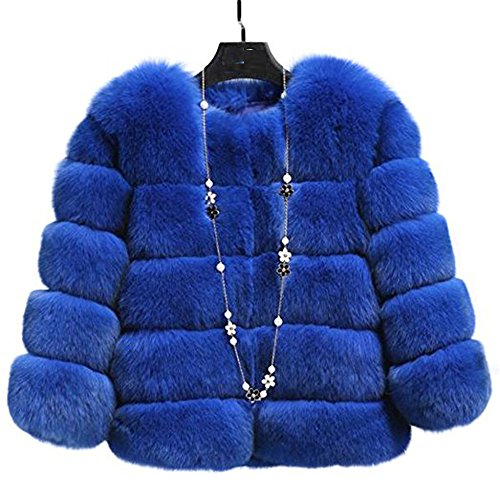 Blue Fox Fur Coat Jacket (Manka Vesa Women's Winter Faux Fox Fur Plus Size Thick Short Jacket Warm Parka Coat Royal Blue)
