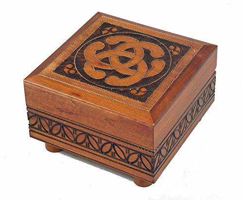 Celtic Knot Decorated Handmade Wood Polish Box with Secret Opening