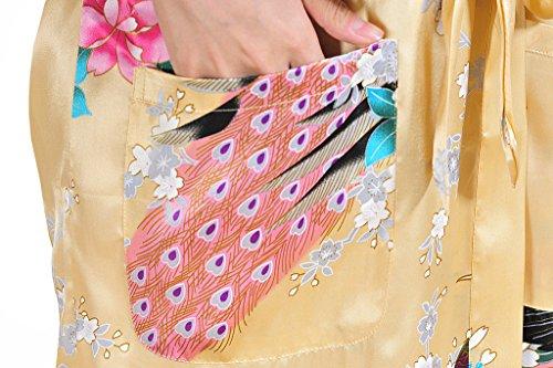 Waymoda - Bata de satén para mujer, diseño pavo real y flores, estilo Kimono largo champán