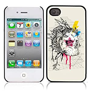 Skull Tattoo Partterned Hard Plastic and Aluminum Back Case for Apple iphone 4 4S