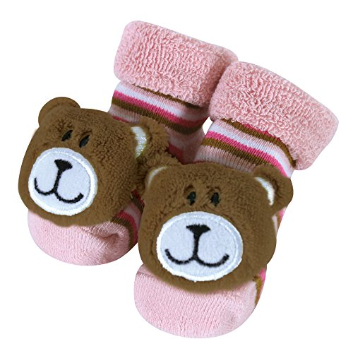 (Stephan Baby Rattle Socks, Pink Bears, Fits 3-12 Months)