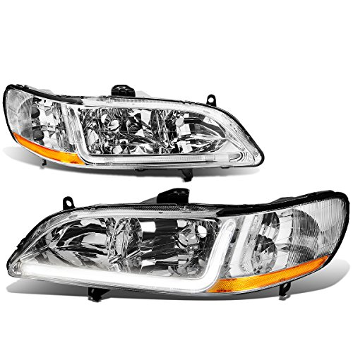 (For Honda Accord 6th Gen Pair of Chrome Housing Amber Corner Headlights + LED DRL)