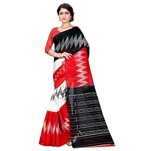 Jaanvi fashion Women's Bhagalpuri Silk Ikkat Patola Print Saree (Red) (Saree Print)