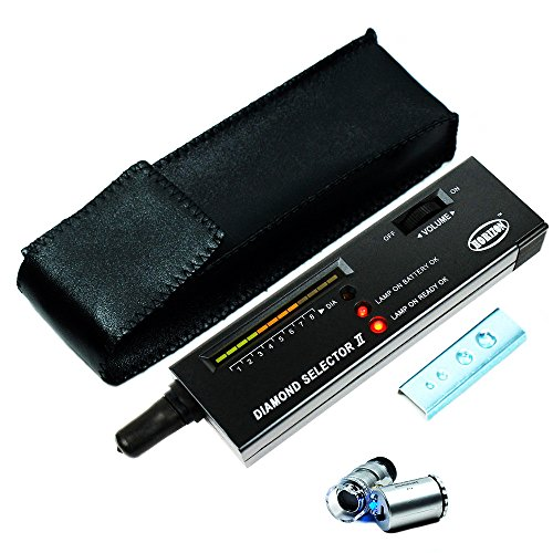 Diamond Tester Kit High Accuracy Professional Diamond Selector Tool + 60x LED Illuminated Loupe + Gem Testing Platform + Carrying Case + 9V Battery - Portable Jewelers Tools Set For Novice or Expert