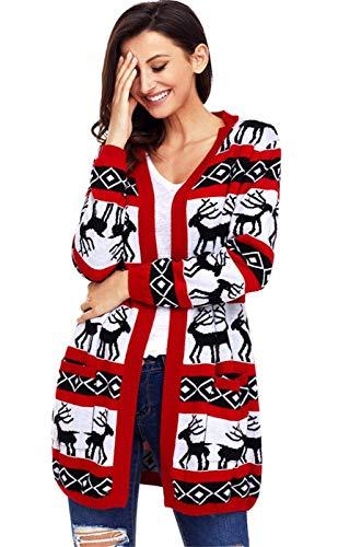 Autunno Tasche Di Lunga Moda Giubotto Stampate Stlie Pullover Tempo Maglioni Casual Donna Giacca Libero Anteriori Reindeer Maglia Red Manica Unique A zTqEwXft