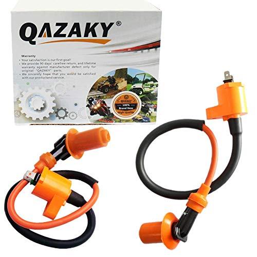 (QAZAKY 2 Pcs Performance Ignition Coil for GY6 50cc - 90cc 110cc 125cc 150cc 4-stroke Engine Motorcycle Scooter ATV Go Kart Moped Quad Pit Dirt Racing Bike QMJ157 QMI157 QMJ152 QMI152 TaoTao Buyang)