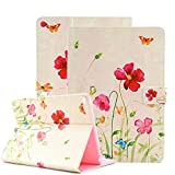 (US) iPad Air 2 Case, iPad Air 2 Cover, Itrendz [Cute Smart Case] PU Leather Flip Case [Magnetic Closure] Stand Smart Cover [Auto Sleep Wake] For Apple iPad Air 2, Summer Flower Butterfly