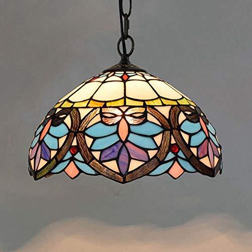 Dobany Euro Creative Tiffany Style Chandelier Stained Glass Blue Love Heart Chain Retro Pendant Light Restaurant Bar Island Light 12 Inch