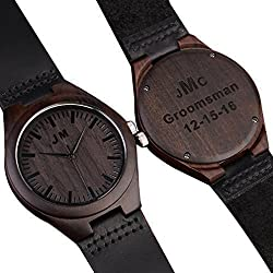 Custom Engraved Wooden Watches for Men Personalized Groomsmen Gifts Ideas Anniversary Gifts for Men Leather Strap Double-Sided Engraved