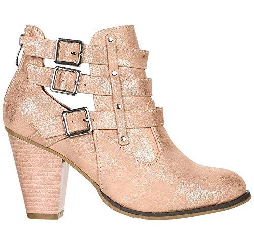 Forever Women's Buckle Strap Block Heel Ankle Booties Rose Gold Metallic2 7 M US