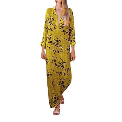 Wave166 Vestido de Mujer Verano Flojo Casual Largo Liso ...