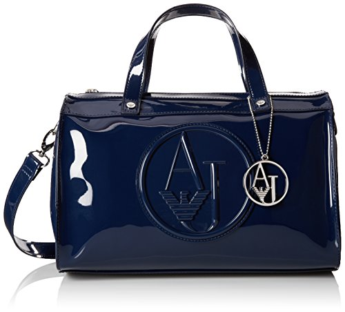 Armani Jeans RJ Patent Bowler Top Handle Bag, Navy, One Size