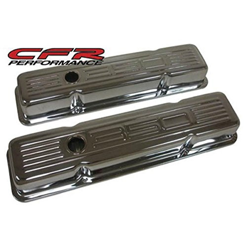 1958-86 Chevy Small Block 350 Short Steel Valve Covers - Chrome w/ 350 Logo