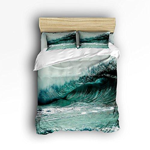 30%OFF Libaoge 4 Piece Bed Sheets Set, 3D Great Sea Wave Print,