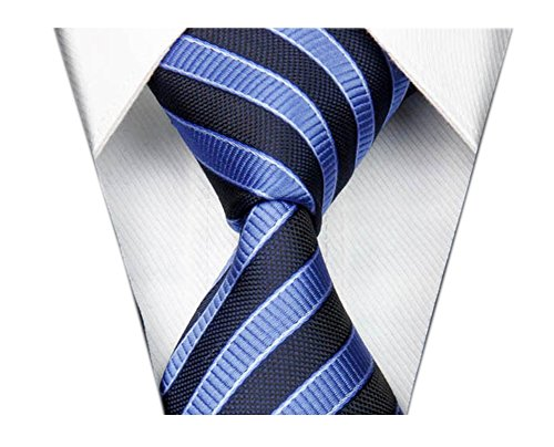 Blue Striped Designer Silk Necktie (Secdtie Men's Striped Navy Blue Jacquard Woven Silk Tie Formal Necktie TW02)