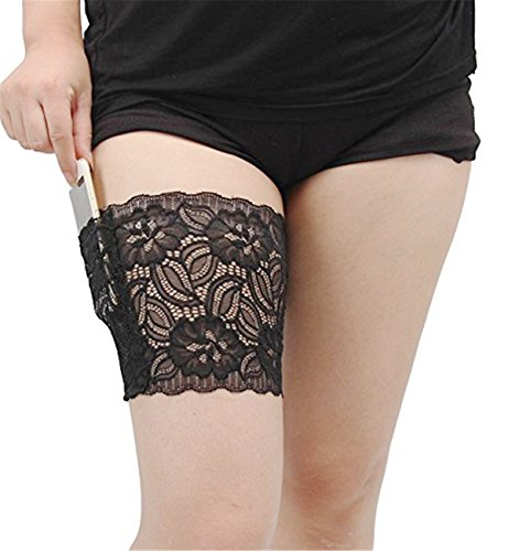 VIEEL Womens Lace Non-slip Concealed Thigh Holster Thigh Garter With Purse Phone Security Pockets (Black, L)