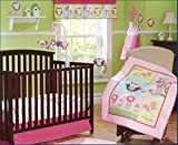 New Baby Girls Pink Owl 9pcs Crib Bedding Set
