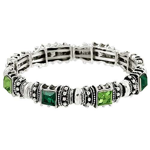 Falari Vintage Acrylic Crystal Antique Silver Stretch Bracelet Emerald & Green B0002-07