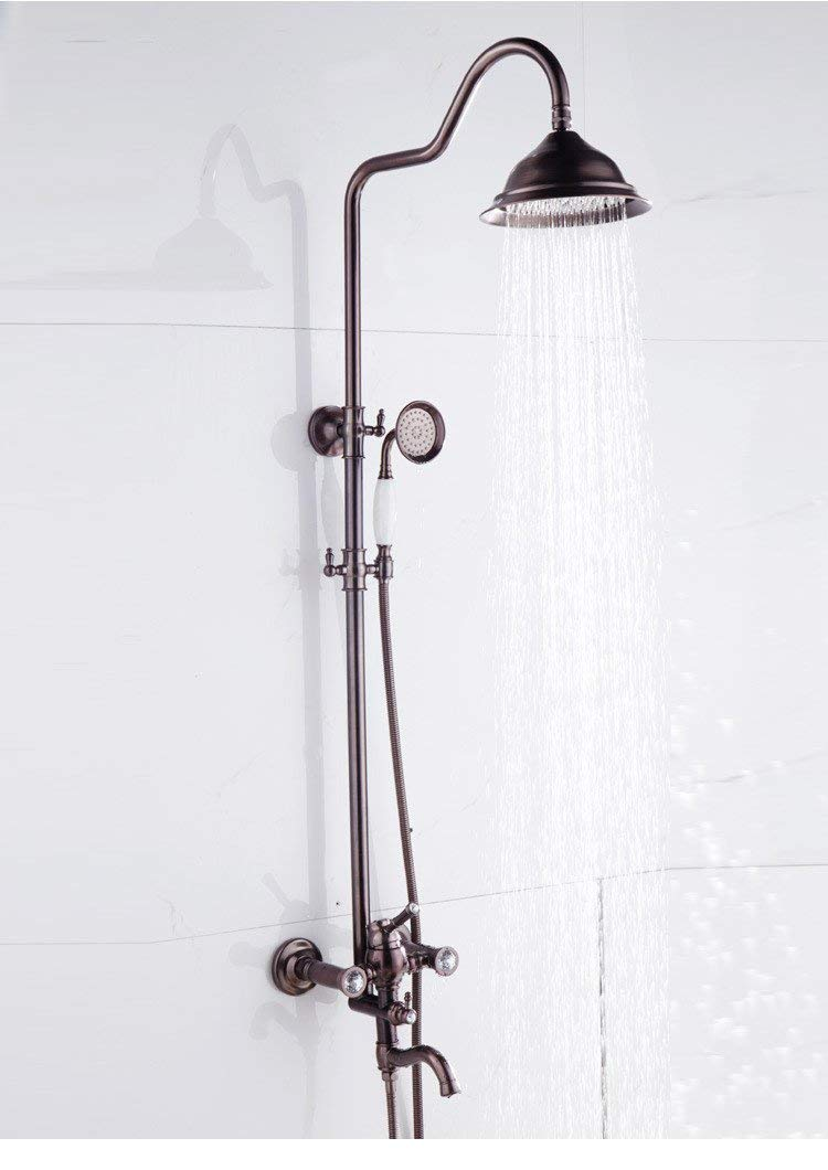 Home Bathroom All Body in Bronze Copper Brown Hand Hand Shower Shower Shower Shower Bath Tub Bathroom Thermostat