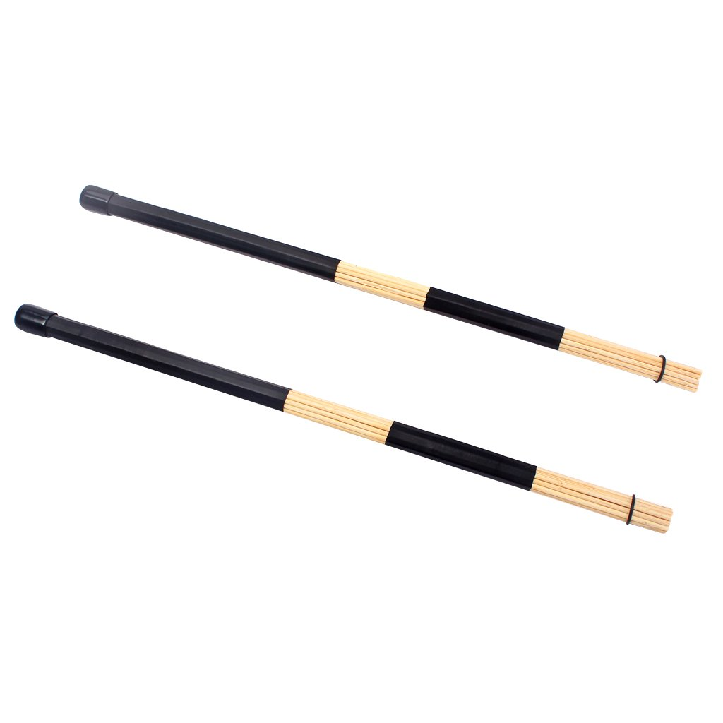1 Pair Bamboo Rods Jazz Drum Sticks Brushes Drumsticks Leather Handle Black Generic STK0157012261