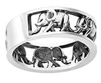 Sterling Silver Elephant Family Migration Ring 925 (Sizes 4-15) from CloseoutWarehouse
