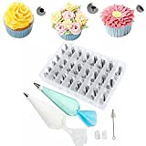 62 Pieces Cake Decorating Tools Supplies Kit Tips Icing Bags Piping Nozzles Set