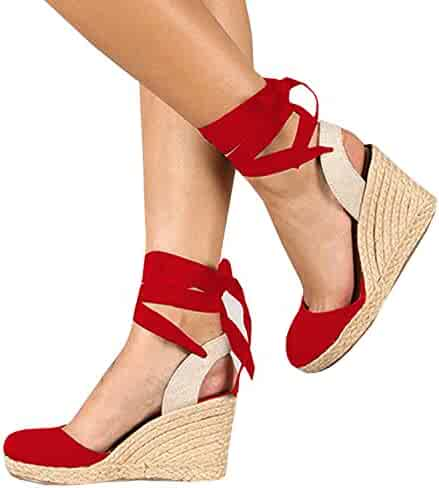 c8421b3e999cb Shele Womens Tie Up Suede Peep Toe Espadrille Platform Wedges Sandals  Classic Mid Heel Ankle Strap