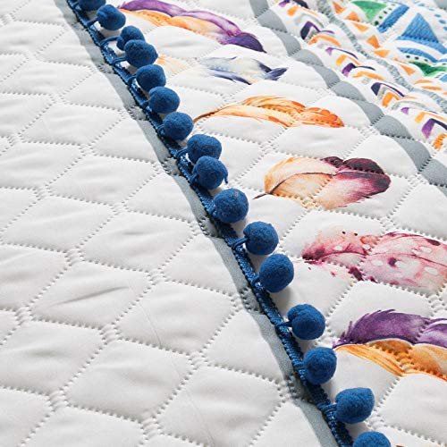 Design91 Eurofirany Dream//1 Couvre-lit Motif Attrape-r/êves Blanc Bleu Rose 200 x 220 cm et 170 x 210 cm