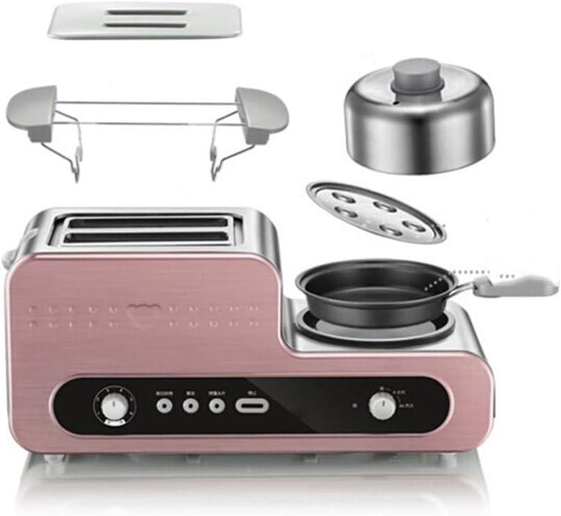 JINJN Pink Breakfast Station Retro 3-in-1 Family Size Multifunction Toaster Oven 2 Slice Steamer Omelette Steak Frying Pan