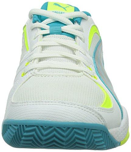 Puma Ballesta Wn's - Zapatillas deportivas para interior de material sintético mujer White/Silver Metallic/Scuba Blue/Fluro Yellow 4
