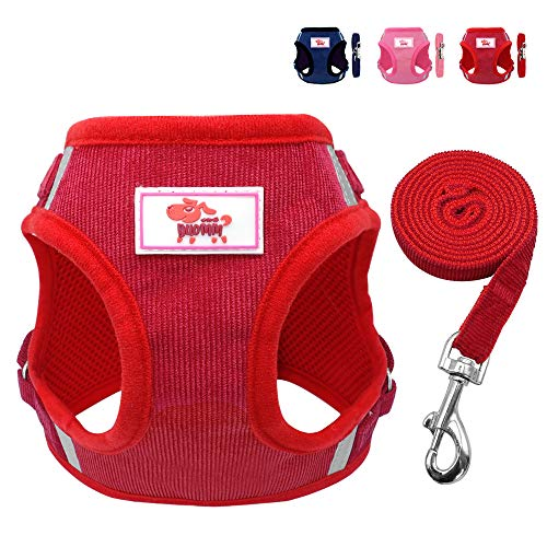 "Beirui Reflective Dog Vest & Leash Set - Soft Harness for Medium Dogs & Cats - Comfort Step-in Mesh Padded Harness with 4ft Leash Pet Supplies,Red Chest for 17"" from Beirui"