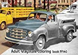 """Adult Coloring Book (24 pages 8""""x11""""/A4) Studebaker Classic Cars Commercial Ads FLONZ Vintage Designs for Grayscale Coloring"""