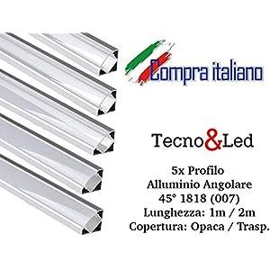 Profilo in alluminio per strip LED angolare 1MT/2MT copertura a scelta (5x 2MT Angolare 007 copertura opaca) 51RiFmMwGkL. SS300
