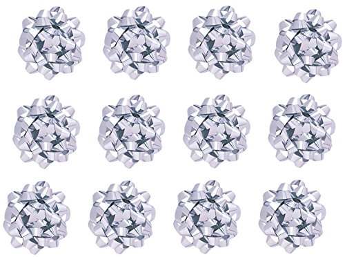 The Gift Wrap Company Decorative Metallic Confetti Bows, Medium, Silver, 12 Count