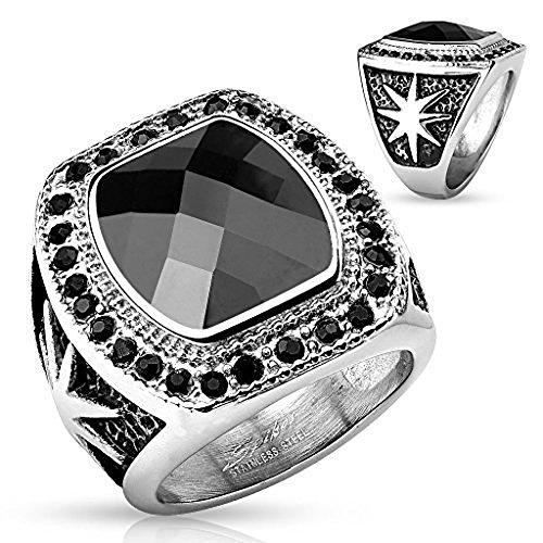 Large Black Gem with Starburst Design Stainless Steel Ring